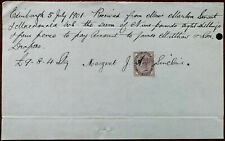 Margeret J. A. Sinclair Edinburgh hand Written Receipt with Stamp 5th July 1901