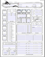 D&D - SELF FILLING CHARACTER SHEET - 5e DUNGEONS AND DRAGONS - 3 VERSIONS