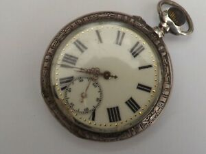 an antique silver -800- galonne cased open face pocket watch