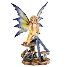 Amy Brown 6 Inch The Magician Fairy Sitting on Mushrooms Statue Figurine