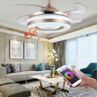 "42"" Remote Retractable Ceiling Fan Bluetooth Music Chandelier  LED Light Fixture"