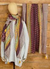 MNT-317 Sarah & Sally Cotton Scarf Dark Aubergine With Pattern Mix
