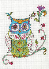 Cross Stitch Mini Kit ~ Dimenisons  Whimsical Patchwork Blooming Owl #70-65163