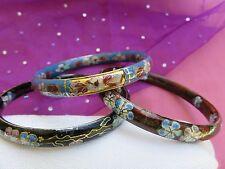 Vintage Enamel Cloisonne Flower Bangle Bracelet Set of 3