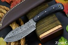 Custom Damascus Steel Hunting Knife Handmade With Wooden Handle (Z332-C)