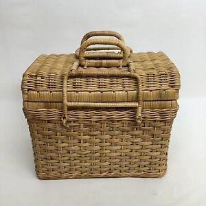 Natural Vintage Wicker Picnic Basket w/ Folding Locking Handles