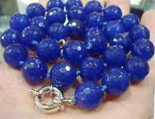 """10MM Blue Sapphire Faceted Gems Round Necklace 18"""""""