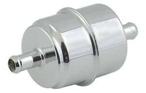 """Chrome Fuel Filter 5/16"""" in Barb Hot Rod Custom Vintage Ford Chevy hose clamp on"""