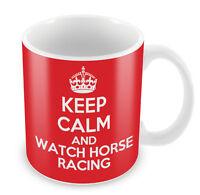 KEEP CALM And Watch Horse Racing Mug - Coffee Cup Gift Idea present sports