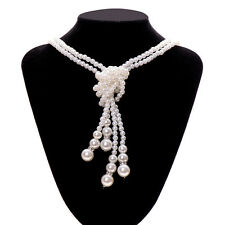 Lady Antique Jewellery White faux Pearls Long Knot Chain Charms Sweater Necklace