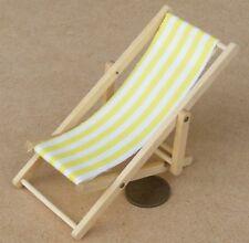 1:12 Scale Dolls House Yellow Foldable Wooden Deckchair Garden Beach Accessory
