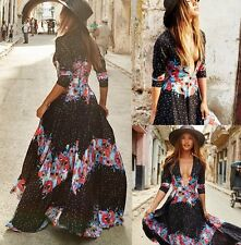 US New Women Vintage Summer Maxi Boho Beach Party Evening Cocktail Long Dress