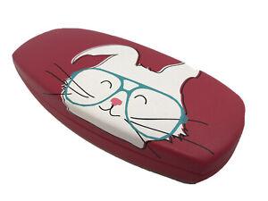 NEW Kitten Cat Wearing Glasses Pink Hard Clamshell Eyeglasses Case