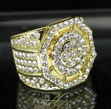 Mens Pinky Ring Octagon Design Icy Cz Band 14k Gold Plated Hip Hop Fashion