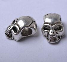 20pcs Tibetan Silver Skull Beads Charm Pendants 12X8MM SH809