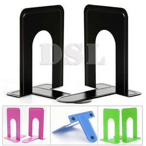 "2 Pairs BLACK Heavy Duty Metal Book Ends 7.5"" Home Office Stationery AntiSlip UK"