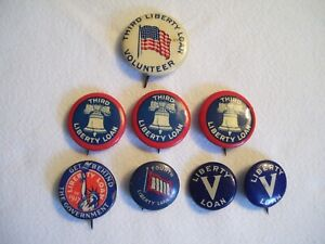 Lot of 8 Antique Vintage WWI & WWII Era Home-Front Liberty Loan Pinback Buttons