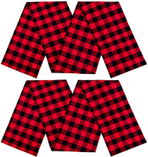 LuoluoHouse Buffalo Checked Plaid Table Runner 2 Pack 13x84 Inch Black and Red T