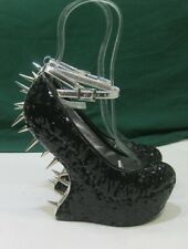 """Privileged Black Spike 6.5""""Wedge heel less  Ankle Strap Sexy Shoe Size 7"""