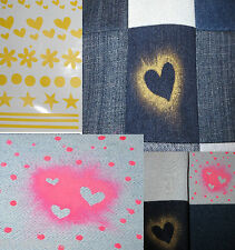 Fabric Paint Stickers, Stencils for Fabric Painting - Hearts, Stars, Flowers Etc