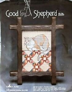 """Good Shepherd Cat on A Quilt Counted Cross Stitch Kit w/Frame 5"""" x 7"""" NEW"""