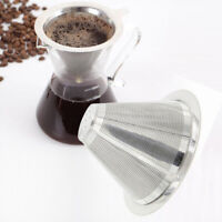 Coffee Dripper Stainless Steel Pour Over Cone Maker Filter Strainer Tool Reusabl