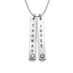 Personalized Vertical Bar Necklace with Swarovski Stone - Custom Pendant Jewelry