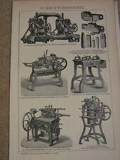 Gravure sur bois de 1900-typographie-Police Fonderie Machines Figure et rapport