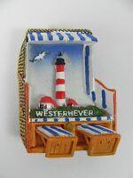 Strandkorb Magnet WESTERHEVER Leuchtturm, Poly 3D,Souvenir Germany,Neu