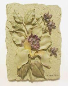 "Cheri Blum Exotic Floral Raised Wall Plaque Cymbidium Poly Resin  6.25"" x 4.5"""