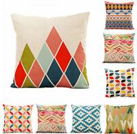 Cotton Linen Colourful Geometry Pillow Case Sofa Throw Cushion Cover Home Decor
