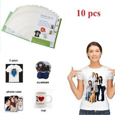 10 x A4 Iron On Inkjet Print Heat Press Transfer Paper Light Fabric T-Shirt