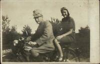 Soldier & Woman on Motorocycle SPARTA Dutch Manufacturer Real Photo Postcard