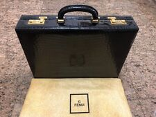FENDI Black Genuine Crocodile Attaché Briefcase Bag