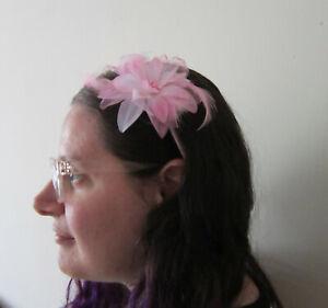 FASCINATOR | PINK | Soft Feathers | Beads | Flower detail | Pink Headband (61A)