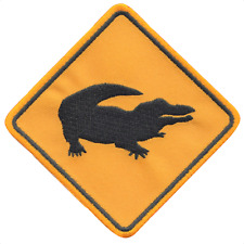Australia Crocodile Road Sign Embroidered Patch Badge