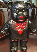 """Cast Iron Doorstop or Bookend Black And Red Bear  Vintage 8 1/2"""" Cute Heavy"""