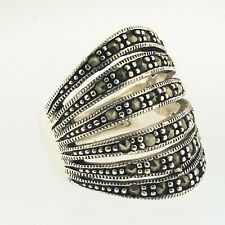 Marcasite Ribbed Ring Sterling Silver 925 Size 6