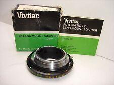 Vivitar TX lens mount adapter for MINOLTA MD mount camera w manual & box 35-5210