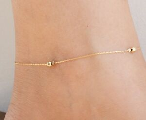 Gold bead anklet Gold Filled 14k Ankle Bracelet Fashion jewelry anklet NEW gift