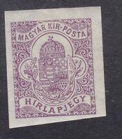 Hungary - 1900 Newspaper Stamp Imperf - 20F Purple - SG N9 - Mint Hinged (C1D)