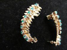 Fashion Cuff Statement Earrings Gold Tone Green Jewel Beaded Egyptian Gypsy Chic