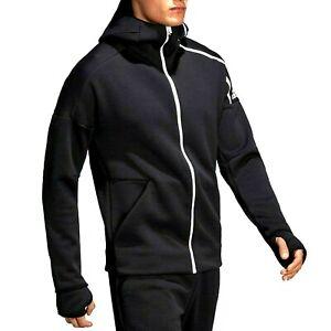 ADIDAS mens hoodie hooded sweatshirt jacket black LOOSE XXL(72cm pit to pit)