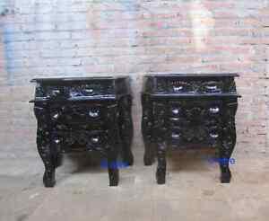 2 x Matt Black GOTHIC  Rococo Bedside tables