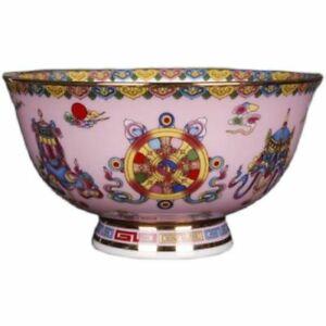 Chinese Qing Qianlong Famille Rose Porcelain Pink Glaze Auspicious Design Bowl