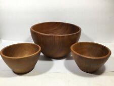 Vintage MidCenturty Modern Teak Wood 3 Piece Salad Bowl Fruit Bowl Set Farmhouse