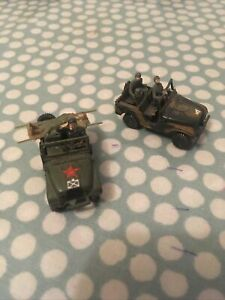 Roco Minitanks 2x Jeeps 1:87/HO Scale Used Condition - Glued Front Wheels