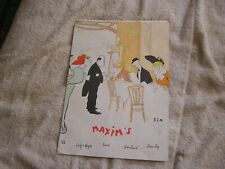 "Vintage  Chez ""Maxim's""  Folder Menu French Restaurant Paris France"