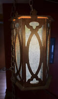"VINTAGE MCM HANGING  SWAG light Gothic cross 70"" light lamp"