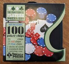 New listing Pro Players Poker Set - 100 Chips - 5 dice - 2 card decks - Carrying Case * New